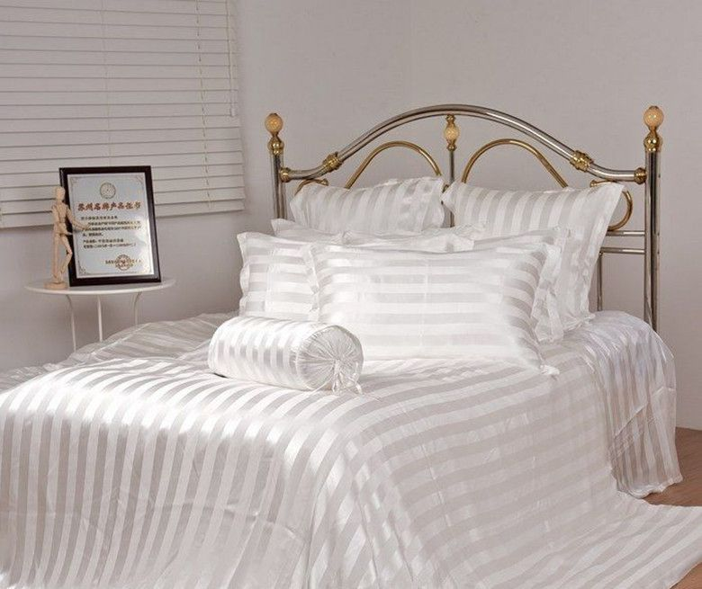 100% mulberry silk bedding Queen size Jacquard stripes colors 4 pieces set 16.5 mm stripes white customize