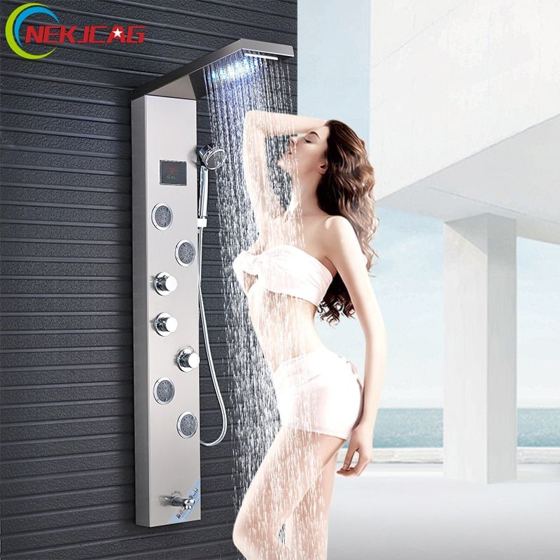 Stainless Steel Shower Faucet Panel LED Shower Faucet Tower Shower Column with Massage Jet