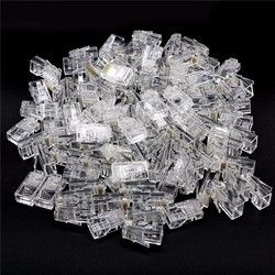 100pcs Crystal 8Pin RJ45 Modular Plug Rj-45 Network Cable Connector Adapter for Cat5 Cat5e Cat6 Rj45 Ethernet Cable Plugs Heads