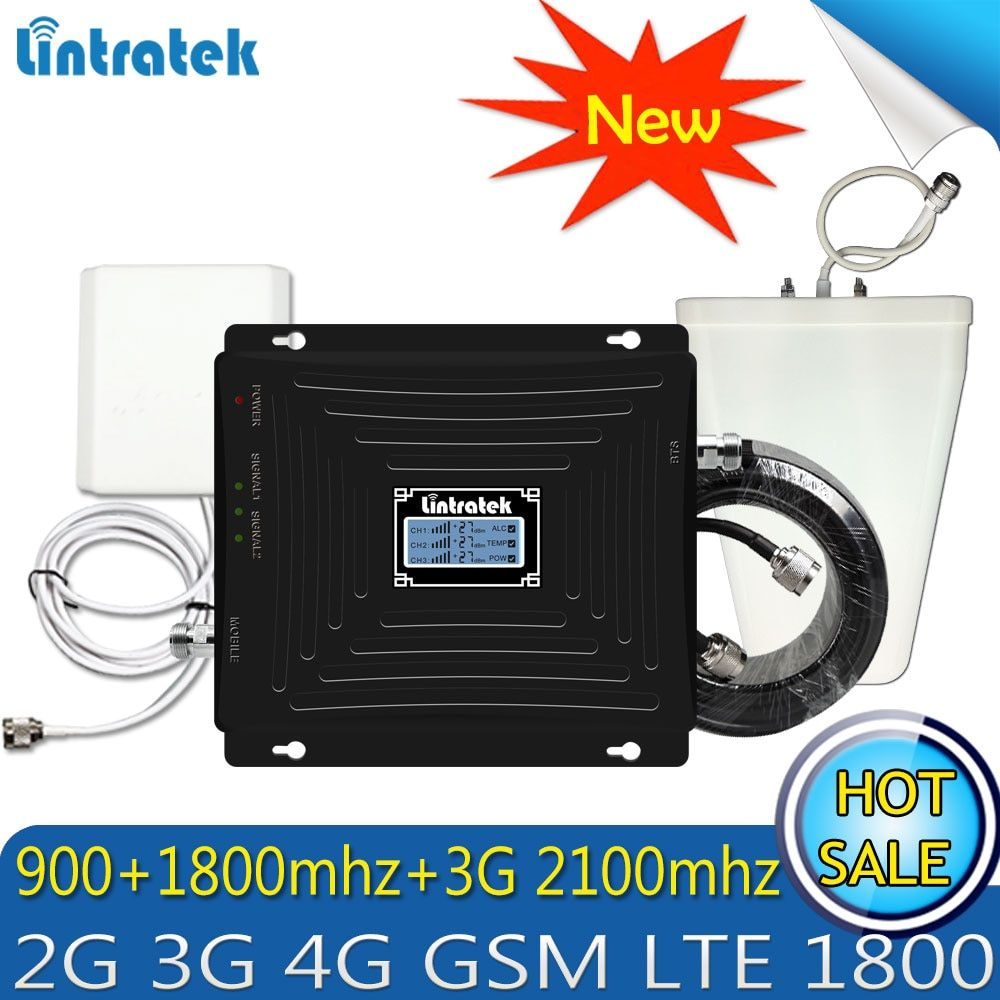Upgraded Tri-Band Booster GSM 900 1800 WCDMA 2100 70dB 2G 3G 4G LTE 1800 Mobile Cellular Signal Repeater Amplifier for Europe