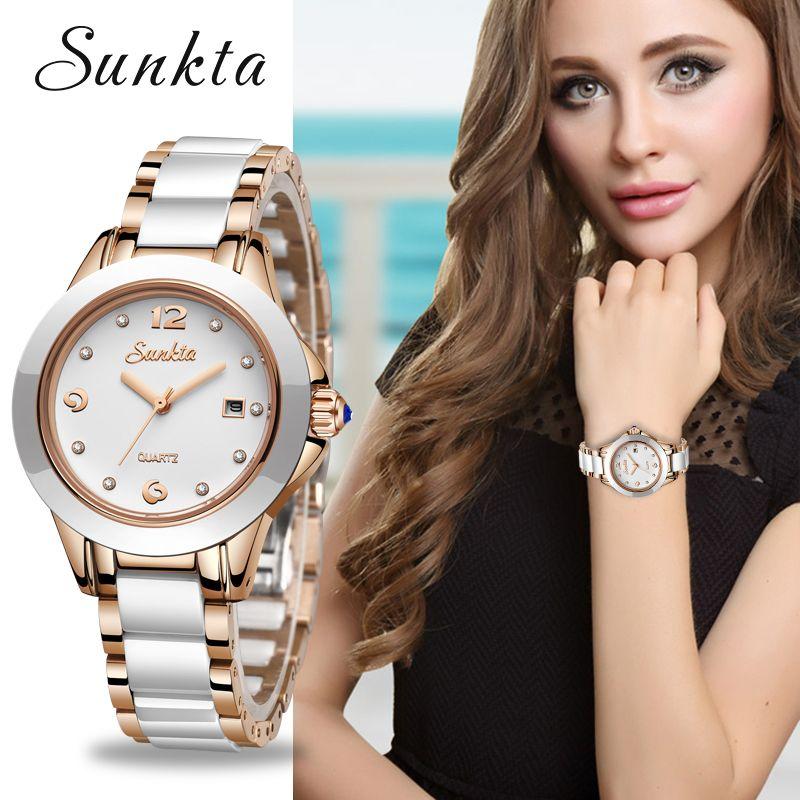 SUNKTA Neue Rose Gold Uhr Frauen Quarz Uhren Damen Top Marke Luxus Weibliche Armbanduhr Mädchen Uhr Frau geschenk Zegarek damski