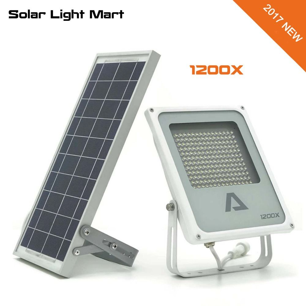 Alpha 1200X 3 Power Modes 180LED 300-1400lm 5m Cable Automatic Solar Powered LED Flood Light Outdoor Waterprooof Lamp