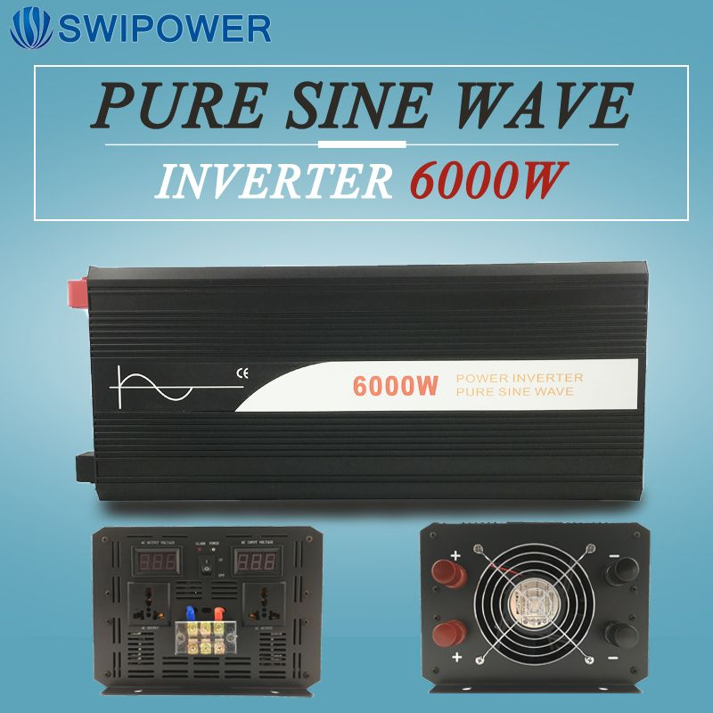6000 Watt rein sinus solar power inverter DC 12 V 24 V 48 V zu AC 110 V 220 V digitalanzeige