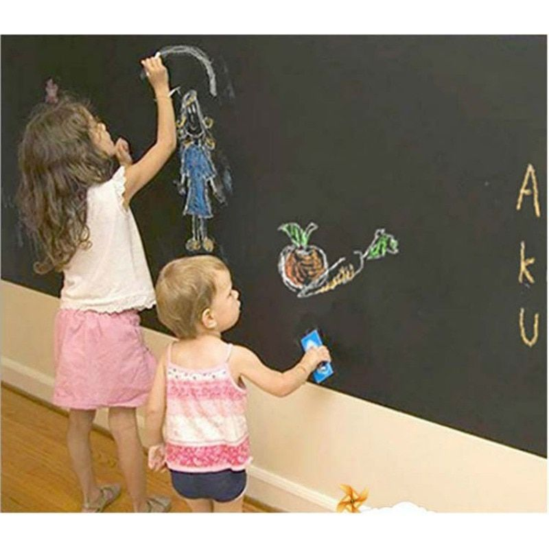 Stickers muraux Papier Peint Tableau Enfants Chambre Décoration Tableau Décoratif Collant Noir Mur Enfants Peinture Ardoise 15%