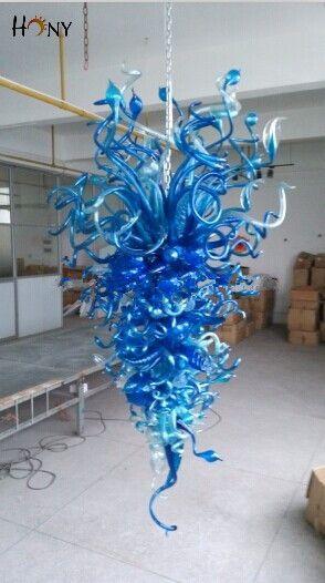 Kostenloser Versand Phantasie Murano Glas Dekorative Lichter Hause Blau Große Foyer Kronleuchter