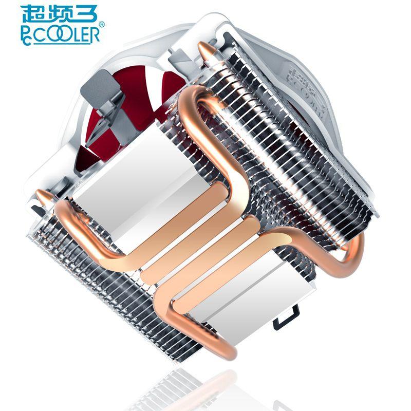 Pccooler V6 4 Heatpipes En Cuivre CPU refroidisseur pour AMD Intel 775 1150 1151 1155 1156 CPU radiateur 120mm 4pin de refroidissement CPU fan PC calme