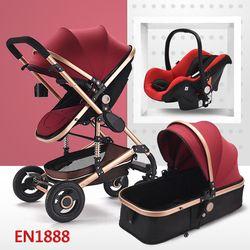 Multifuncional 3 en 1 cochecito de bebé de aleación de aluminio del cochecito de bebé del paisaje enviado por el aire