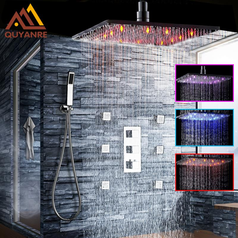 Wall Mounted LED Rainfall Shower Faucet Set Square Shower Head Bathroom Shower Massage Jet Hand Shower Thermostatic Mixer Tap