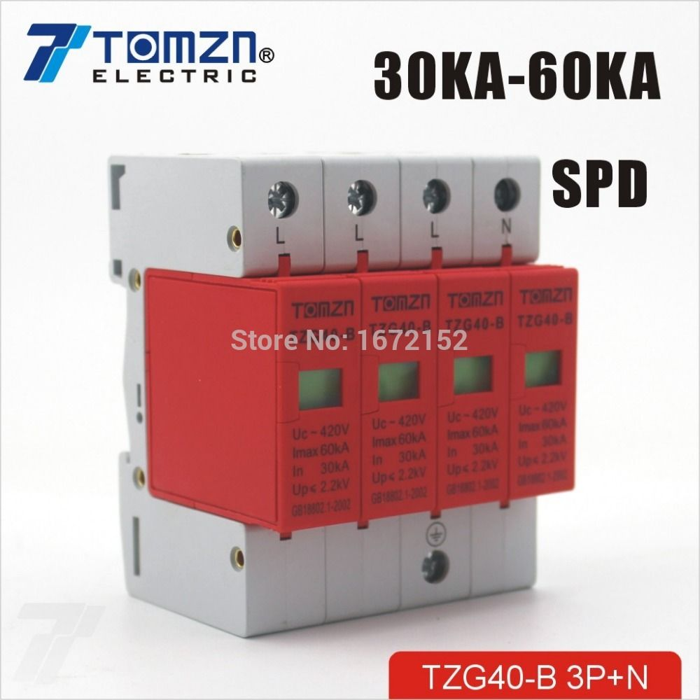 SPD 3P+N 30KA~60KA D ~385VAC House Surge Protector Protective Low-voltage Arrester Device