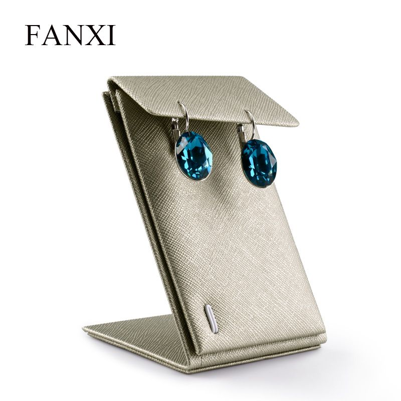 FANXI Free shipping Z shape leather jewelry display stand for ear stud earring holder exhibitor earrings display rack