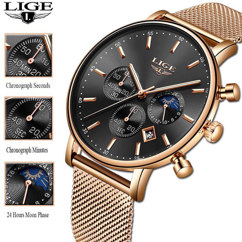 New Year Gift Clock Rose Gold Women LIGE Watch Business Quartz Watches Ladies Top Brand Luxury Watch Female Girl Wrist Watch