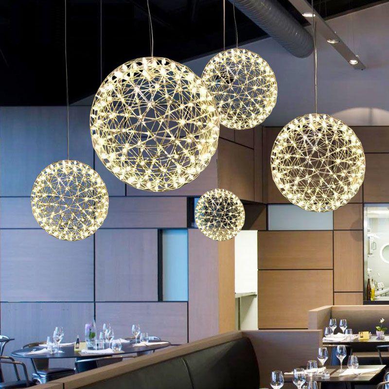 Hand Made Stainless Steel Firework Pendant Light Modern Pendant Lighting Villa Hotel Project Lighting Ball Restaurant Designer