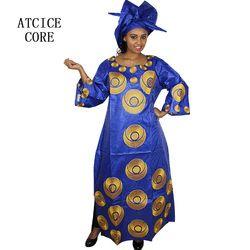 Gaun african untuk wanita fashion desain baru sub das belo african bordir desain gaun panjang dress dengan scarf dua pcs satu set A243 #