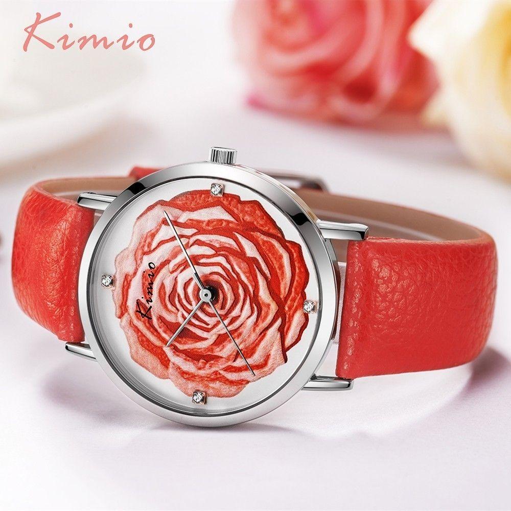 KIMIO 3D Rose fleur strass dames montre femmes robe Quartz cuir montres élégantes femmes montre de mode 2019 marque de luxe