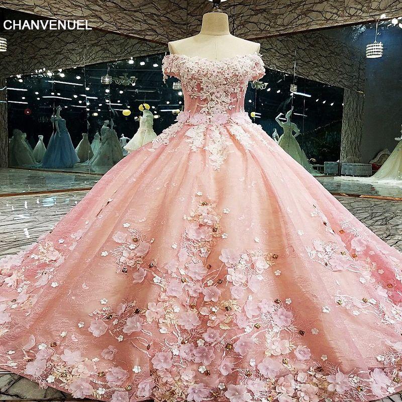 LS00133 Abendkleid lange Luxus Ballkleid Lace Up Zurück Blumen Abendkleid 2018 Vestido De Festa Abendkleider Echt Fotos