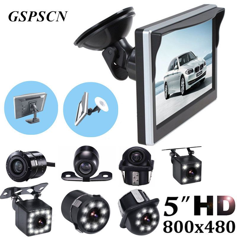 GSPSCN Car Parking Assistance 5 inch Rear View Monitor + Car Reversing Rearview Backup Camera with Rubber Vacuum Cup Bracket
