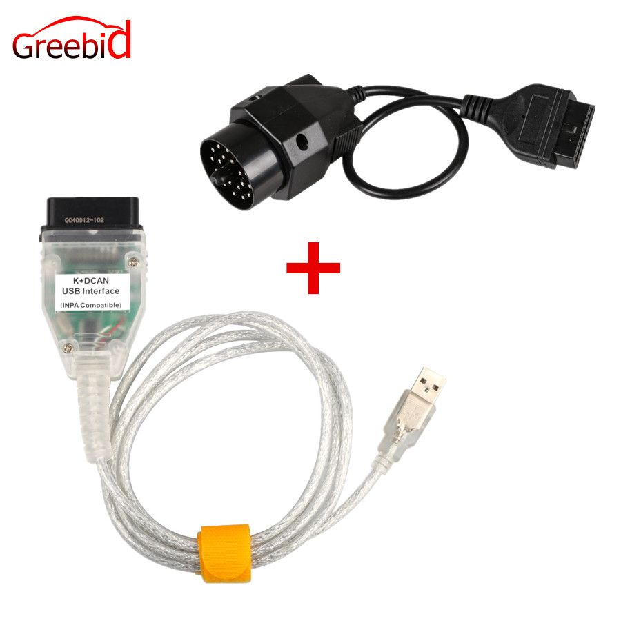For BMW INPA K+CAN K CAN INPA With FT232RL Chip INPA K DCAN USB Interface Plus 20pin to 16pin OBD2 Adaptor Connector for BMW