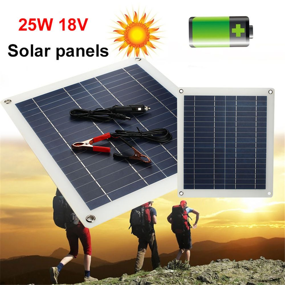 Amzdeal Durable Portable Solar Panel 25W 18V DC Port Fast Charger Emergency Power Supply Outdoor