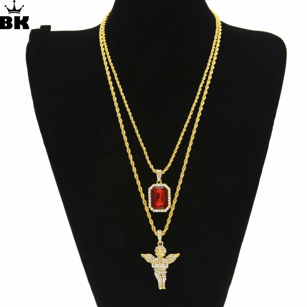 Mens Hip Hop Iced Out Rhinestone Pendant Necklace Set Micro Angel, Jesus, Wing, Praying Hand Pendant Necklace Male Jewelry Gift