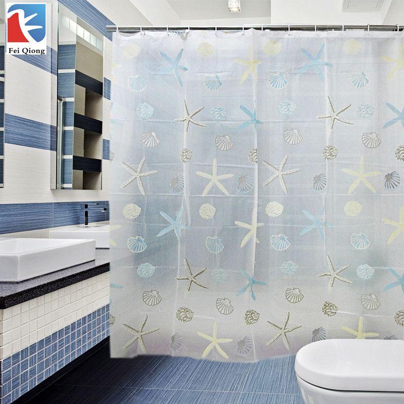 Feiqiong marca PEVA Bañeras Sala Cortinas de ducha a prueba de agua Bañeras cortina patrón escénico 180x180 cm Europa moderno tipo de alta calidad