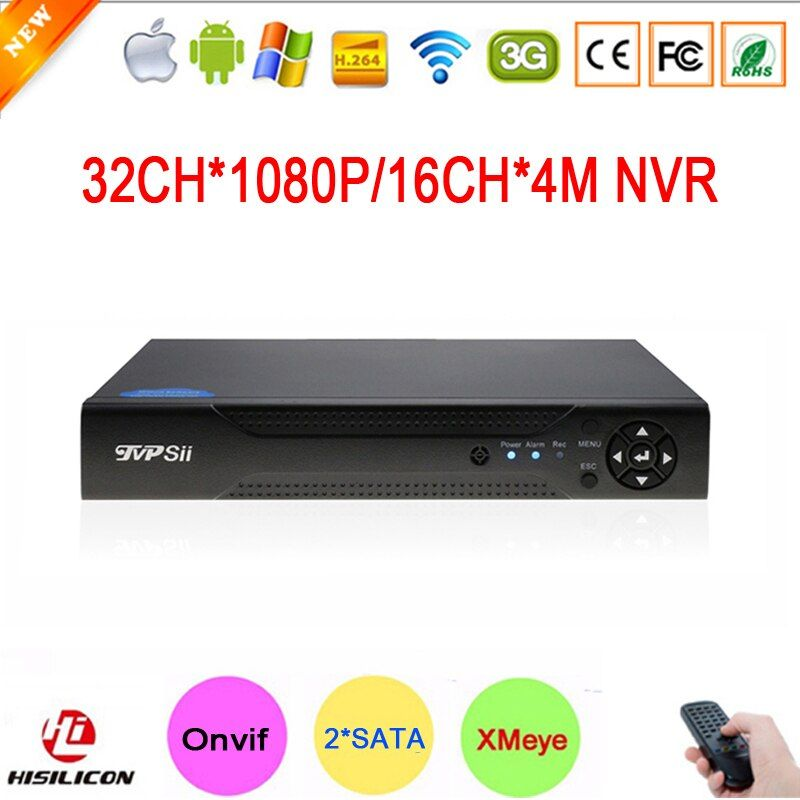 NEW!!! Hi3535 Chip Two SATA 32CH 1080P 2MP IP Camera Surveillance Video Recorder 16CH 4MP HD Digital Onvif NVR Free Shipping