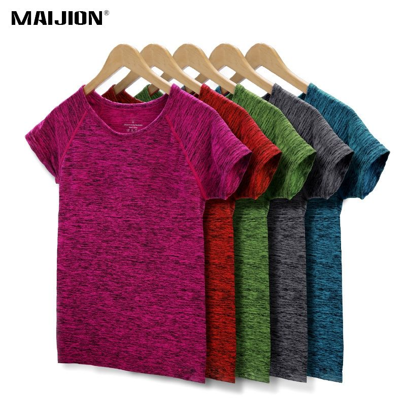 MAIJION 5 Colores Mujeres Camisa de Fitness Yoga Running Sports T Shirt, gimnasio Ejercicios de Sudor de Secado rápido Transpirable de Manga Corta Tops