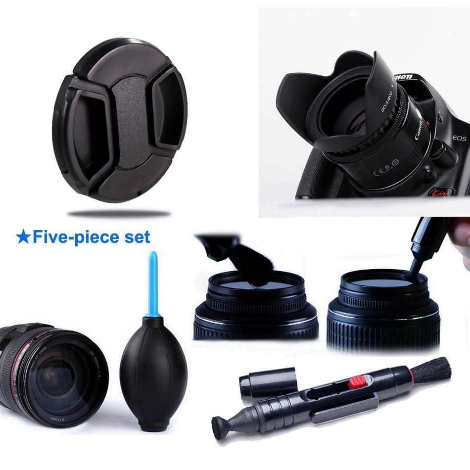 CADEN 4 in 1 Lens Hood / Cap / Lenspen / Air Blower Pump for Sony Alpha A6500 A6300 A6000 A5100 A5000 with E 16-50mm OSS Lenses