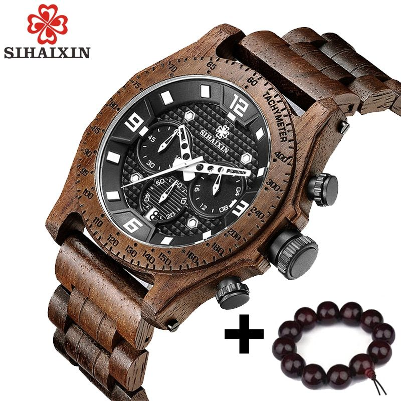 SIHAIXIN Newest Men's Walnut Wooden Watch Waterproof Sport Quartz Chronograph Military Wrist Watches Japan Movement Male Clock