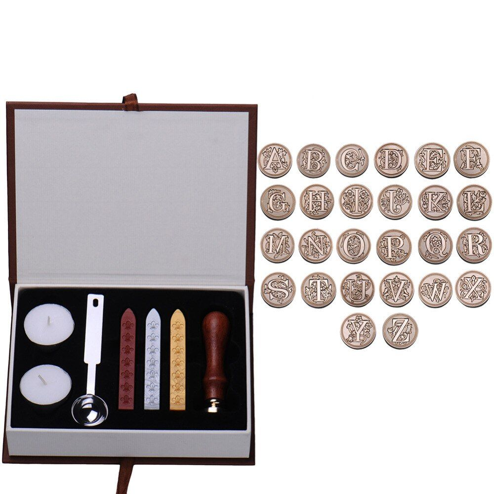 В прочная коробка 26 английского алфавита из металла горячего запечатывания Воск ясно Марки комплект диаметр 25 мм Марки Воск Уплотнители не...