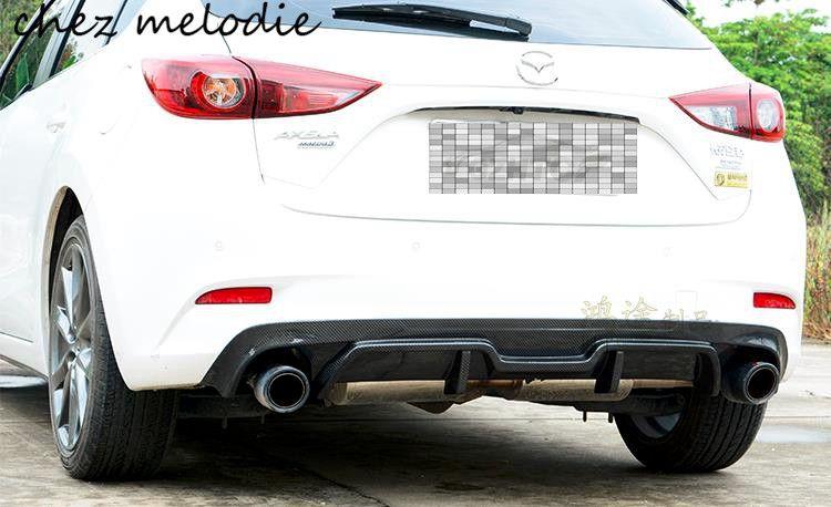Лучшие качества Реальные углеродного волокна автомобиля Двойной выход задний бампер диффузор для Новинка 2017 г. Mazda 3 Axela хэтчбек, вставлять н...
