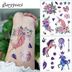 Glaryyears 24 diseños 1 hoja brillo tatuaje FG etiqueta engomada impermeable gato de dibujos animados gato temporal tatuaje de los niños regalo
