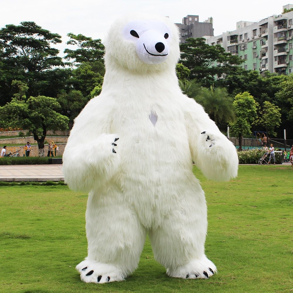 Newest Polar Bear Inflatable Costume For Advertising 2.6M Tall Customize For Adult Suitable For 1.6m To 1.9m Adult