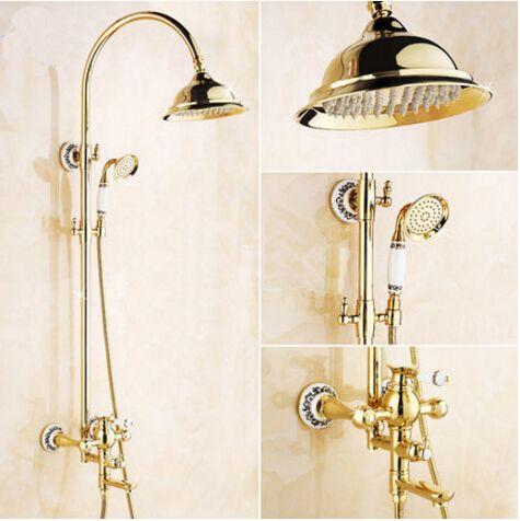 Wholesale And Retail Luxury Gold Brass Shower Faucet Set Single Ceramic Handle BathTub Mixer Set Hand Shower