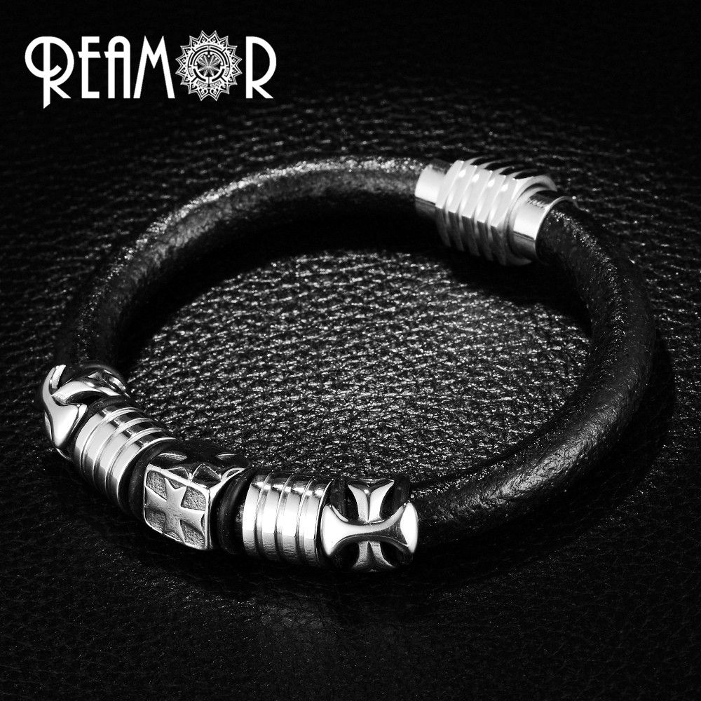 REAMOR Punk Style Black Leather Rope Bracelet Men 316l Stainless steel Cross Bracelets & Bangles with Magnet Clasp Male Jewelry