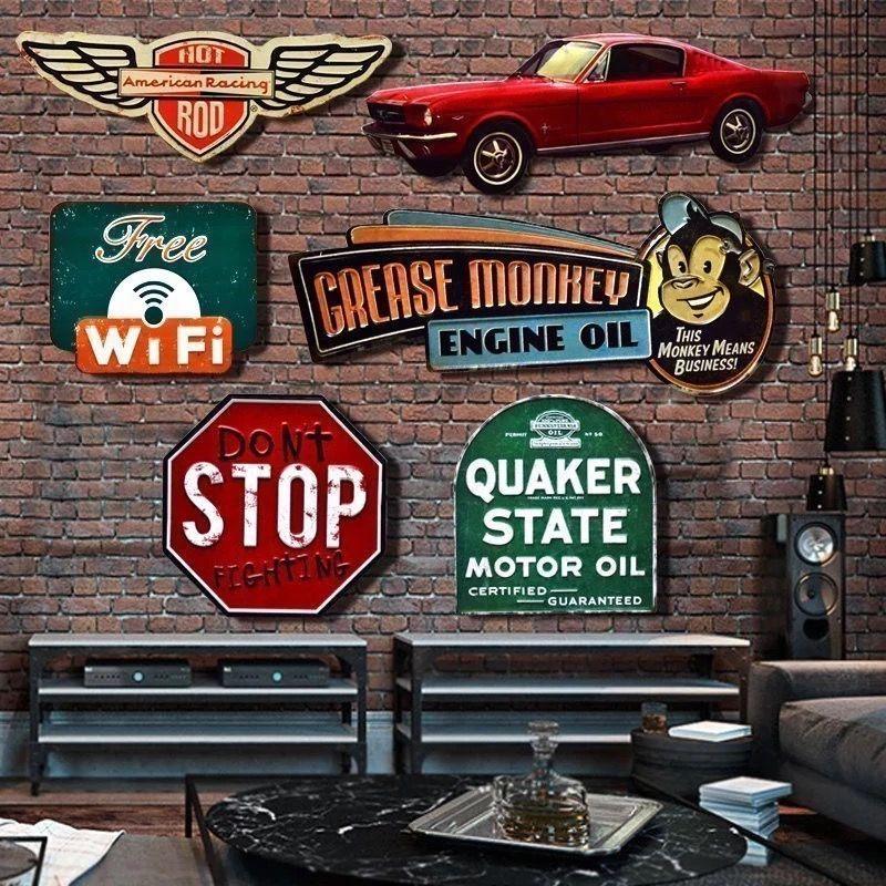 Irrégulier ombre Vintage étain métal signe plaque Bar pub maison café Restaurant mur décor rétro métal Art autocollant affiche