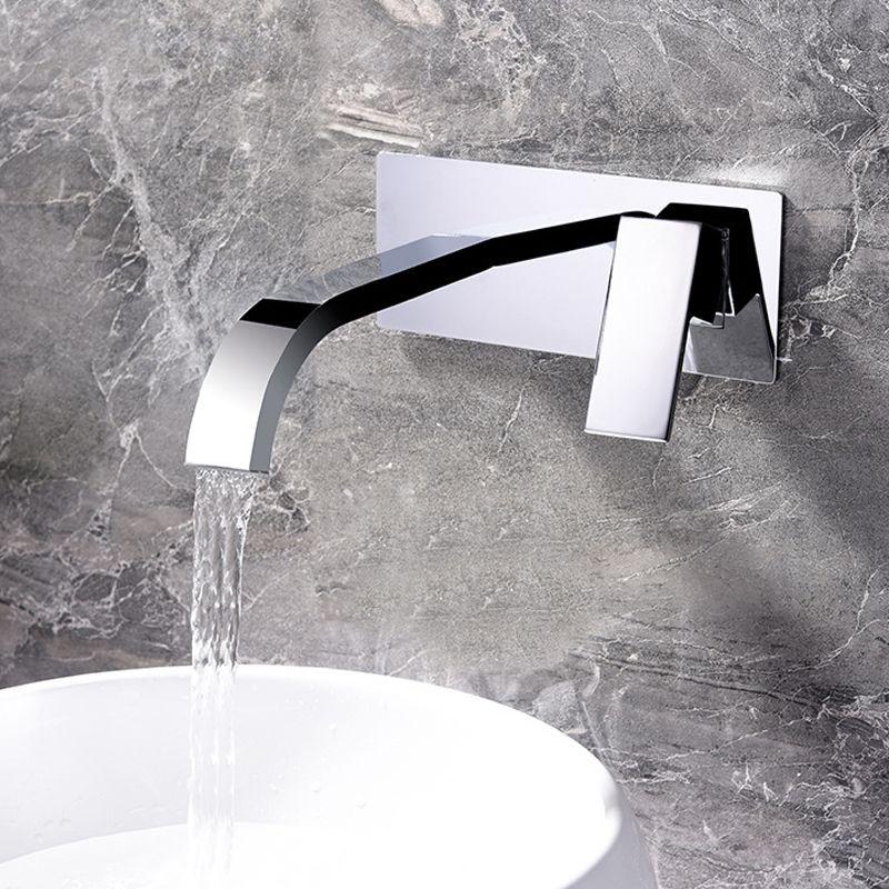 Messing Becken Armaturen Wand Montiert Wasserfall Waschbecken Wasserhahn Verchromt Bad Mischbatterie Versteckte Wasserhähne Mit Embedded Box