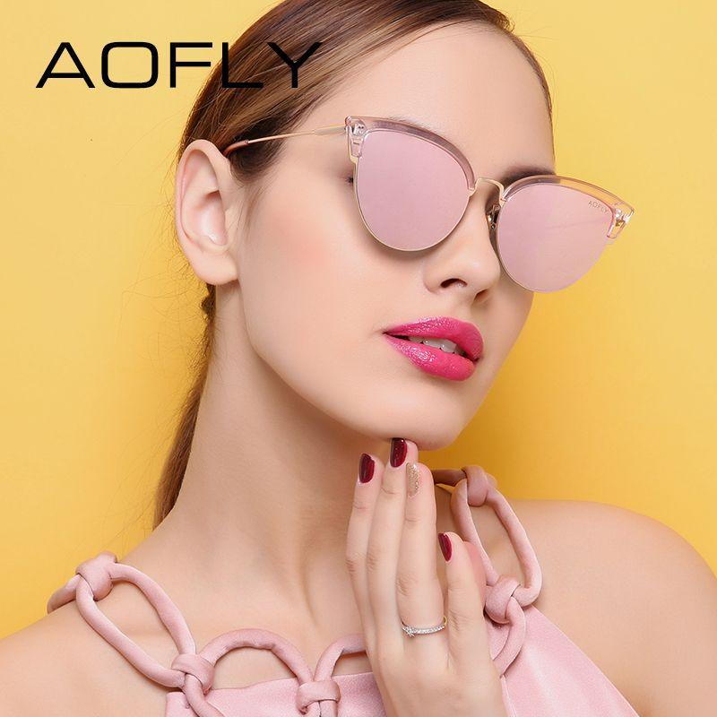 AOFLY кошачий глаз Для женщин Солнцезащитные очки для женщин оригинальный бренд Дизайн антибликовым покрытием зеркало Солнцезащитные очки д...