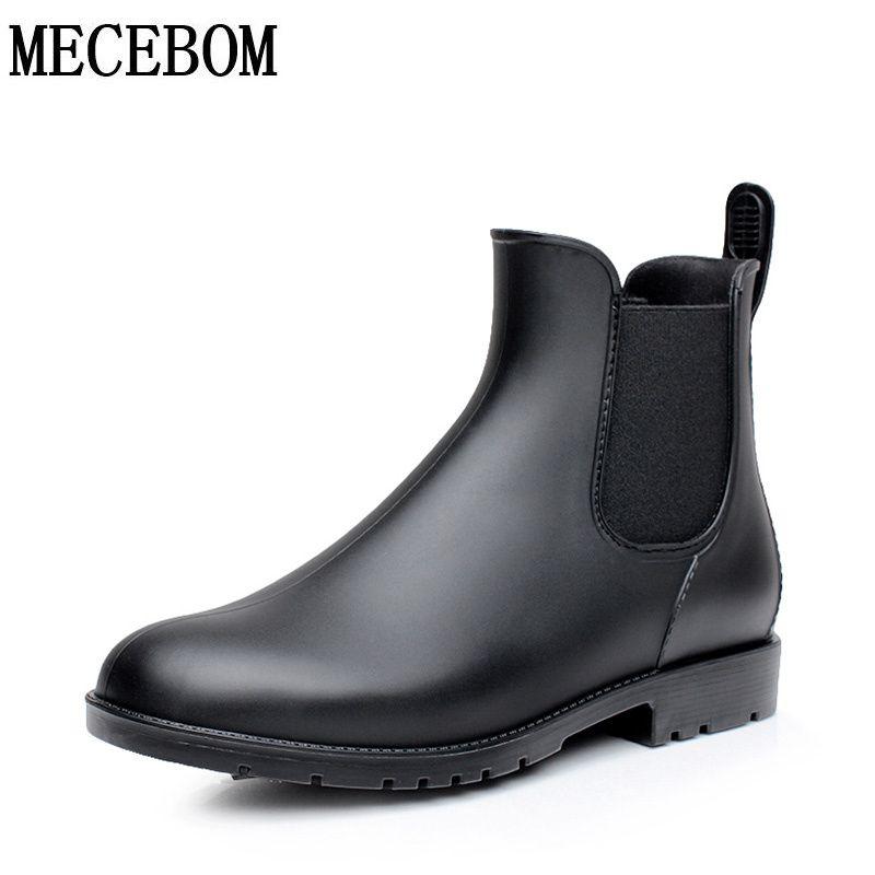 Men rubber rain boots fashion black chelsea boots casual <font><b>lovers</b></font> botas slip-on waterproof ankle boots moccasins 35-43 102m