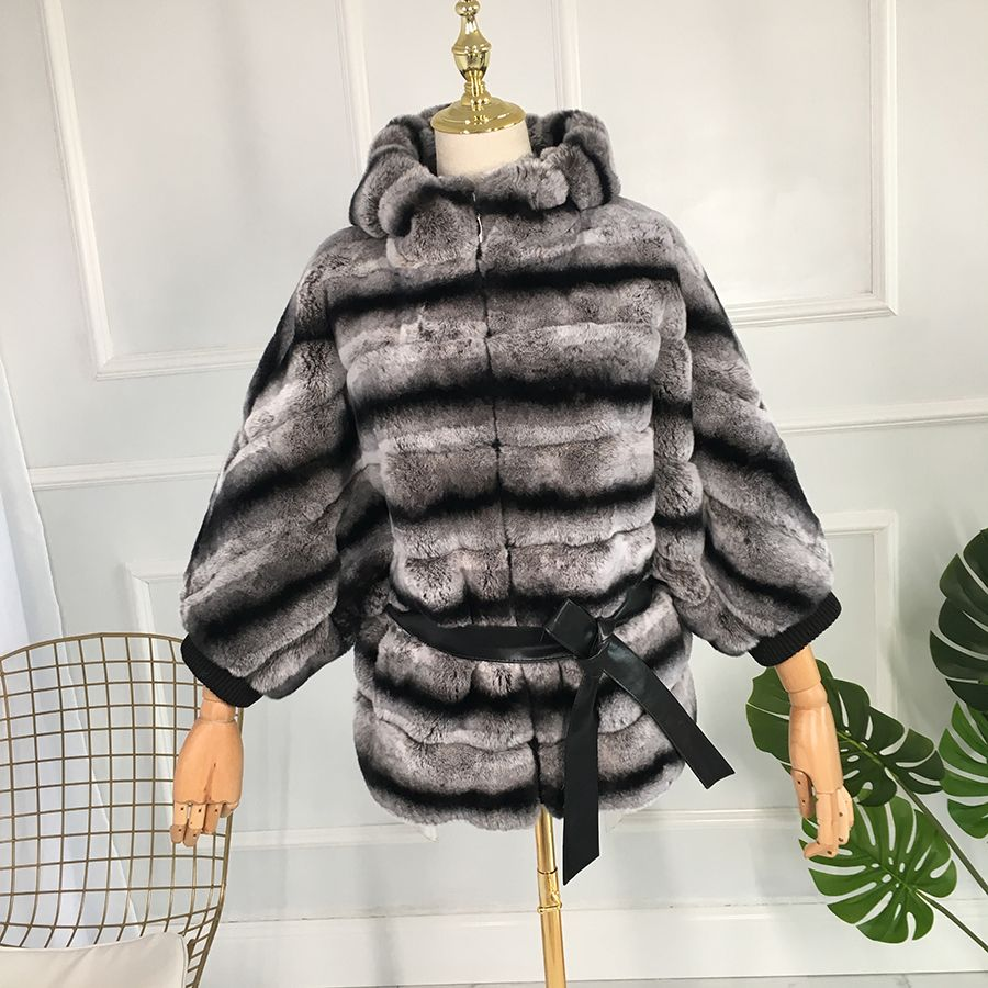 real fur Stripe coat Fur hat to keep warm batwing sleeve with sashes ashionable joker