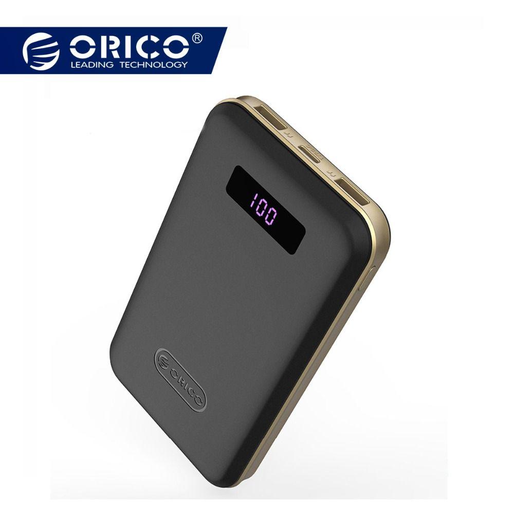 ORICO 12500 mAh type-c batterie externe LCD batterie externe Portable Mobile chargeur rapide double USB Powerbank universel noir