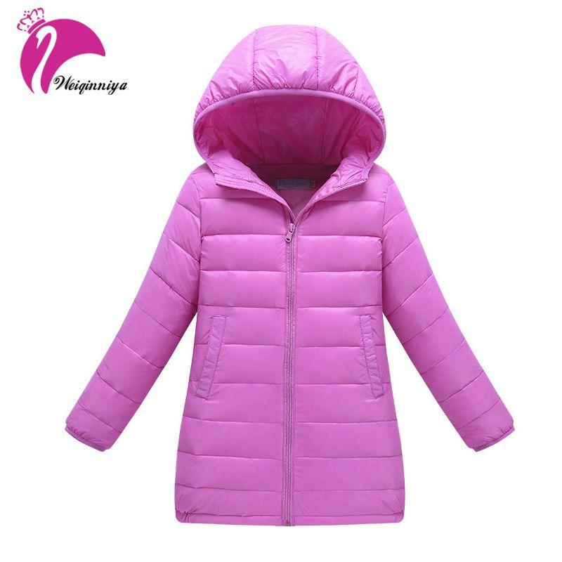 New Brand 2017 Kids Girls Winter Jacket Fashion <font><b>Lightweight</b></font> Outwear Kids Warm Long Coat Hooded Down & Parkas Children Cloting