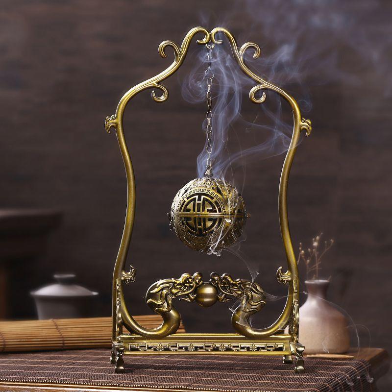 Creative Alloy Copper Art SsangYong Xi Zhu Shelf Openwork Ball Incense Burner for Office Desktop Decoration Crafts Sent Friends