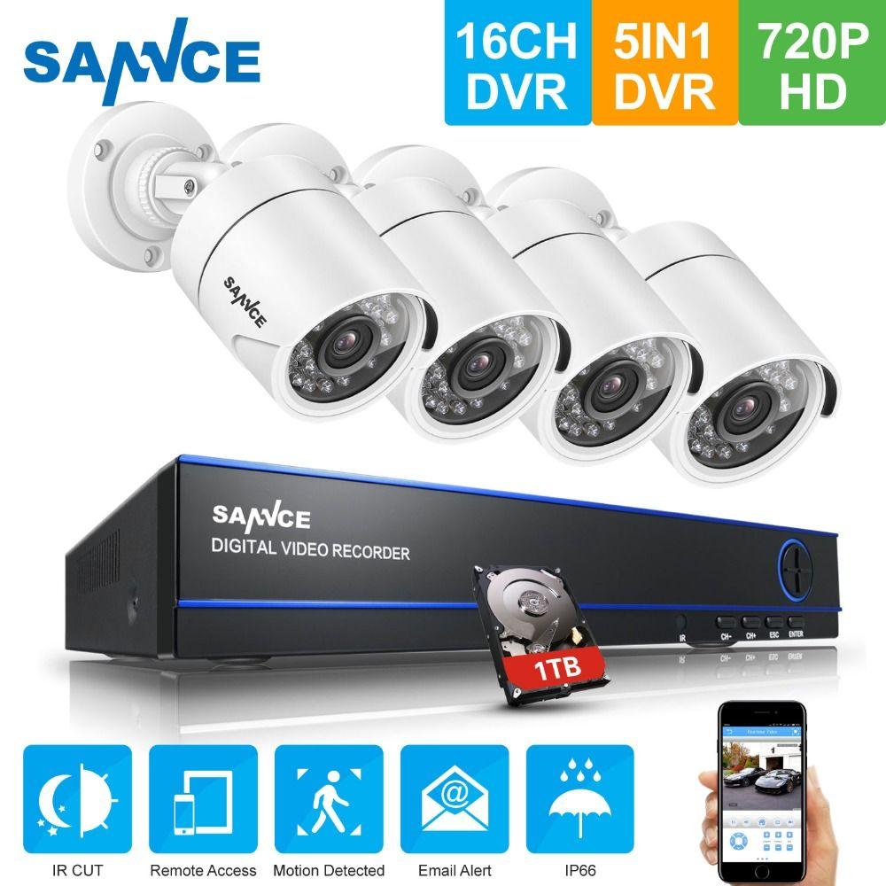 SANNCE 16CH DVR kits IP Camera Surveillance Security 5 IN1 AHD 720P 1200TVL Security Camera System Outdoor IR Night Vision CCTV