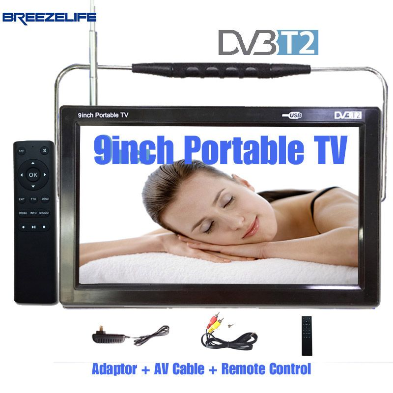 Breezelife TV Portable TV Led Portable TV 9 inch Portable Car DVBT2 HDMI Led Input Display Box HDMI Lcd HD Digital Portable TV
