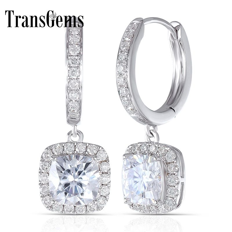 Transgems 14K 585 White Gold 2.8CTW 6MM F color Square Cushion cut Moissanite Halo Hoop Earrings with Accents for Women