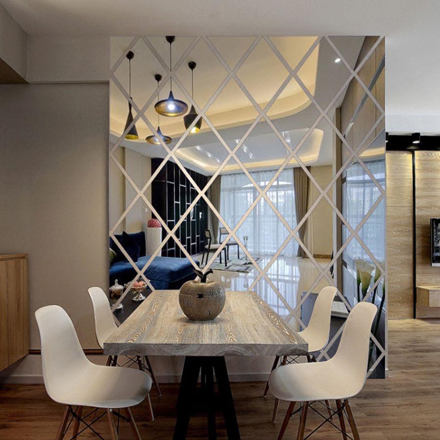 Diamants Triangles Art mural Acrylique Miroir autocollant mural décoration d'intérieur 3D bricolage stickers muraux Art pour Salon décoration d'intérieur