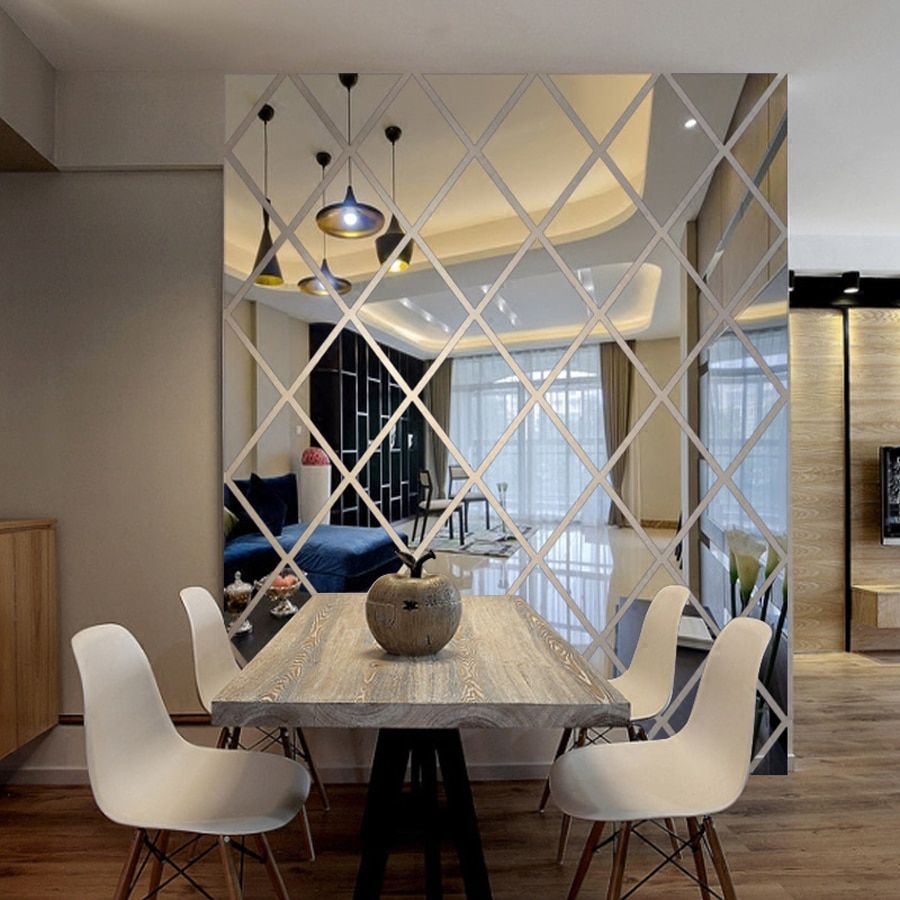 Diamants Triangles mur Art acrylique miroir mur autocollant maison décoration 3D bricolage stickers muraux Art pour salon décor à la maison