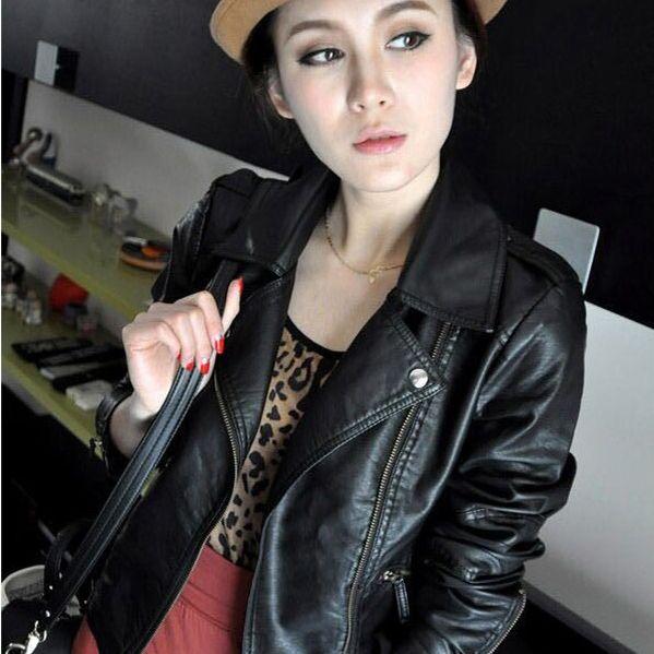 2017 New Fashion Turn Down Collar Women Leather Jackets Slim PU Leather Motor Jacket for Women Casaco Feminino Size 3XL, CB018
