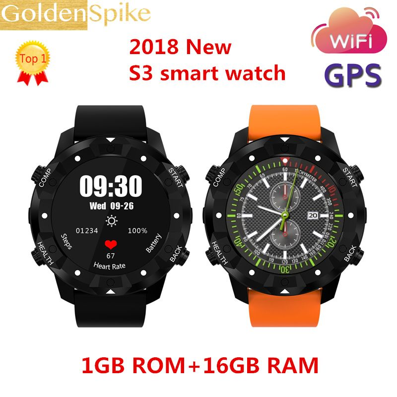 2018 New S3 Smart Watch Android 5.1 MTK6580 1GB+16GB Smartwatch with 3G Wifi GPS Heart Rate For Android iOS Phone PK i4 air LES1