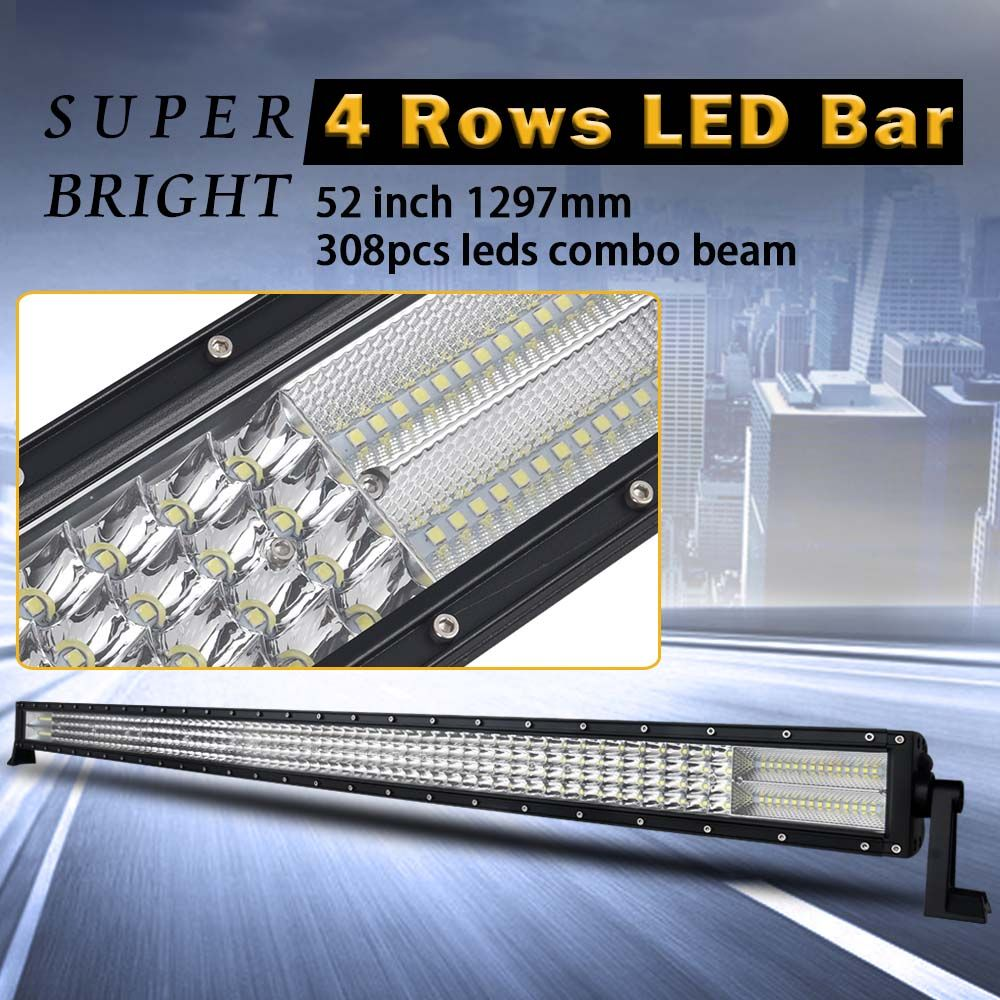 52 inch 4 Rows Led Bar Led Work light for Off Road 4x4 4WD ATV UTV SUV Driving Light Truck Led Light Bar Auto Lamp Actual 262W